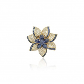 Yellow Gold Diamond and Sapphire Flower Brooch